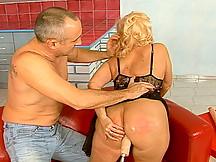 Blonde granny exposing nipples and fucked w dildo