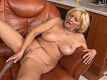 Elegant blonde granny fucking