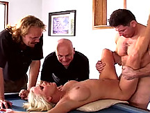 Big titted blonde nailing a pornstar on a pool table