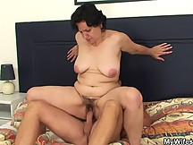 Son in law seduces the mature babe and ends up fucking her drenched pussy with his rock cock