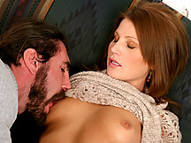 Anilos red head rae rodgers coats a cock in her saliva before fucking it