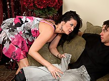 Busty Brunette Sucks Cock on Couch