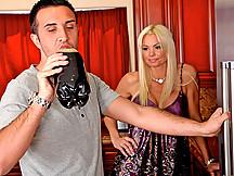 Satin blouse blonde craves big dick